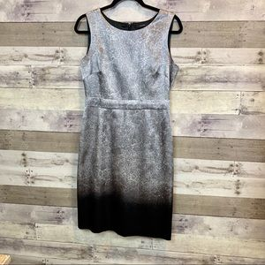 Tahari Ombré Silver/Black Dress Size 8 Shift